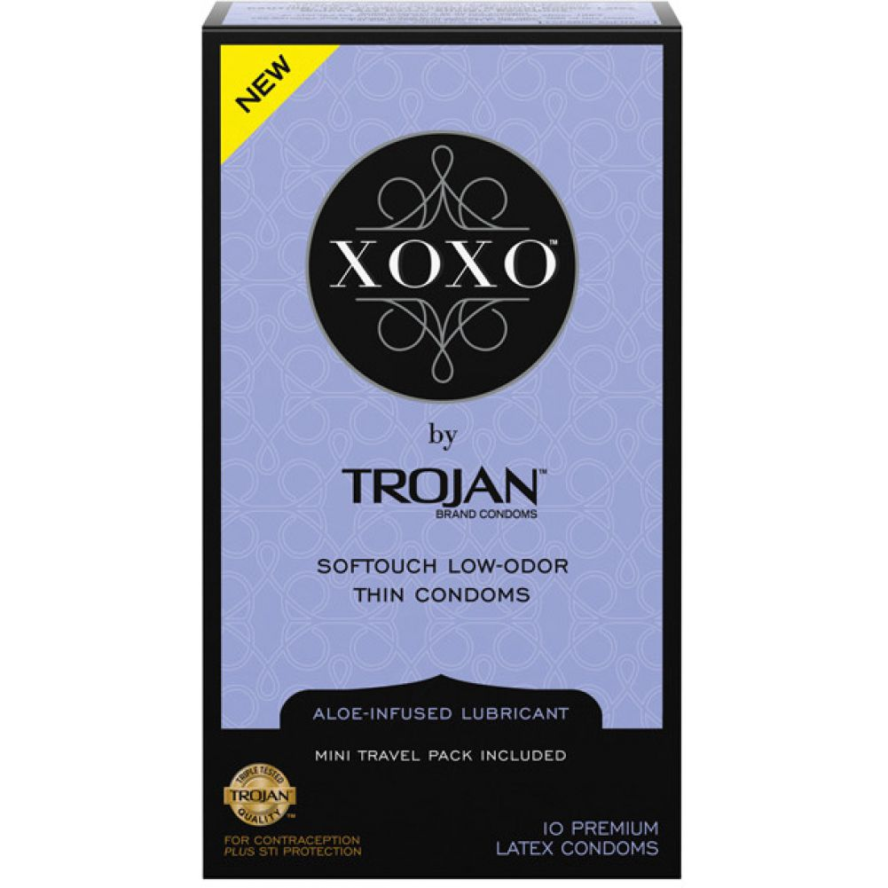 Trojan XOXO Softouch Low Odor Thin Latex Condom Pack of 10 Condoms - View #1
