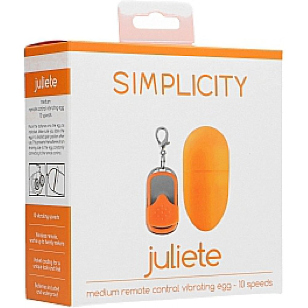 """Simplicity Juliete 10-Speed Vibrating Egg with Wireless Remote 2.25"""" Tangerine - View #1"""