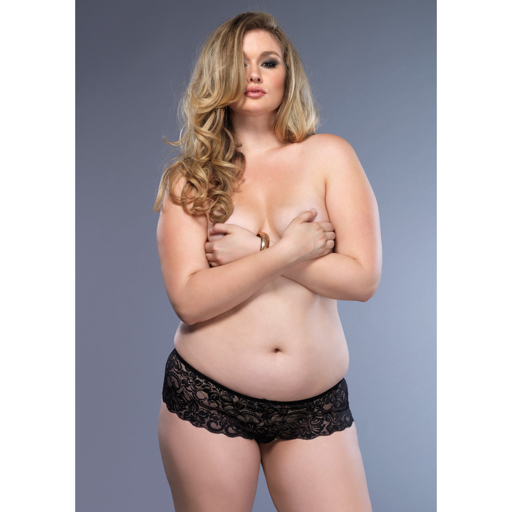 Leg Avenue Stretch Lace Open Crotch Thong Plus Size 1X/2X Black - View #3