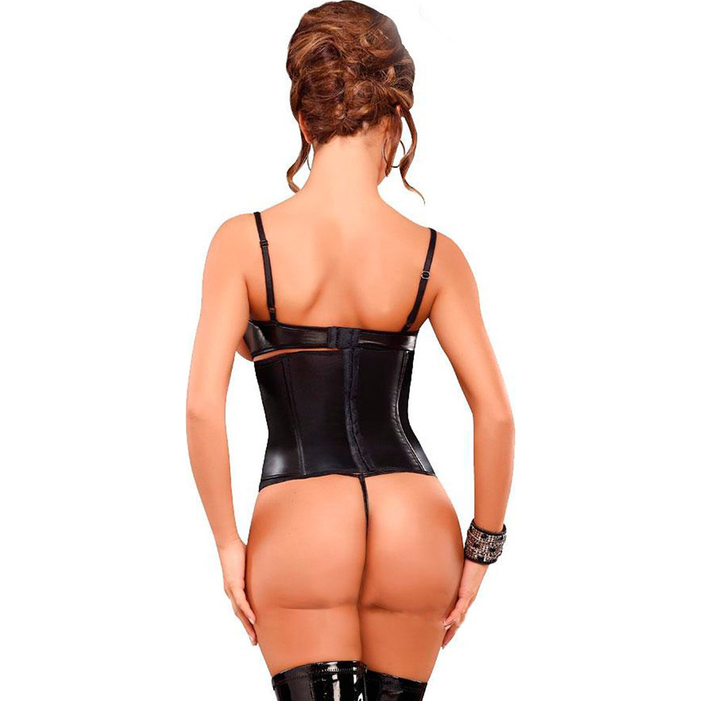 Lust Wet Look Vixen Faux Leather Cincher and Thong Set Queen Size Black - View #2