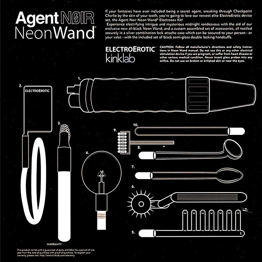 Kinklabs Agent Noir Electro Erotic Neon Wand Kit - View #1