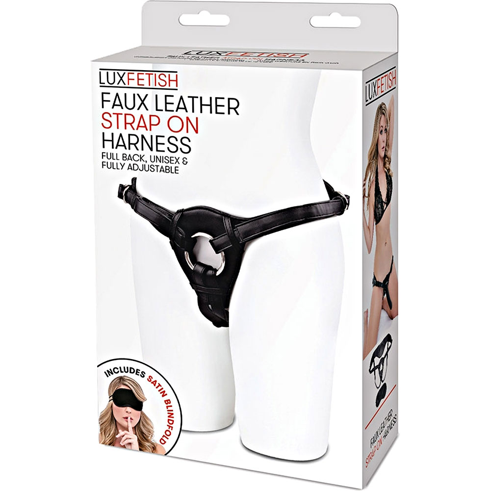 Lux Fetish Patent Leather Strap-On Harness Black - View #4