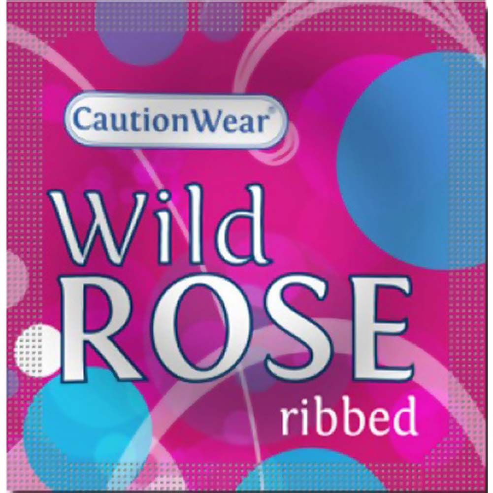 CautionWear Wild Rose Ribbed Lubricated Latex Condoms 3 Pack - View #2