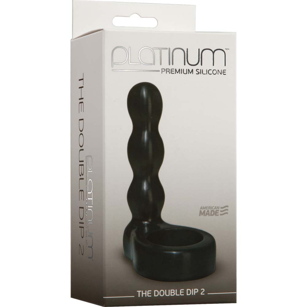 "Platinum Premium Silicone Double Dip 2 Butt Plug 4.25"" Black - View #1"