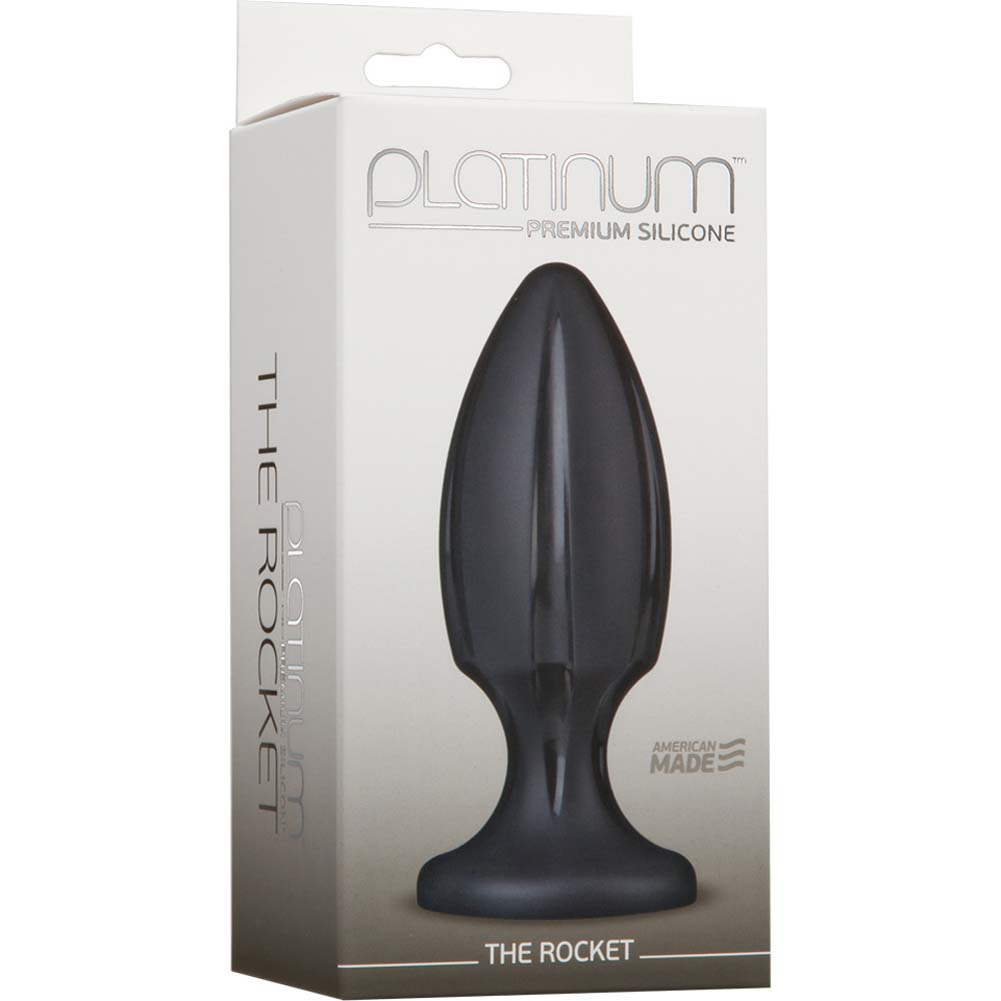 "Platinum Premium Silicone the Rocket Butt Plug 4.75"" Black - View #1"