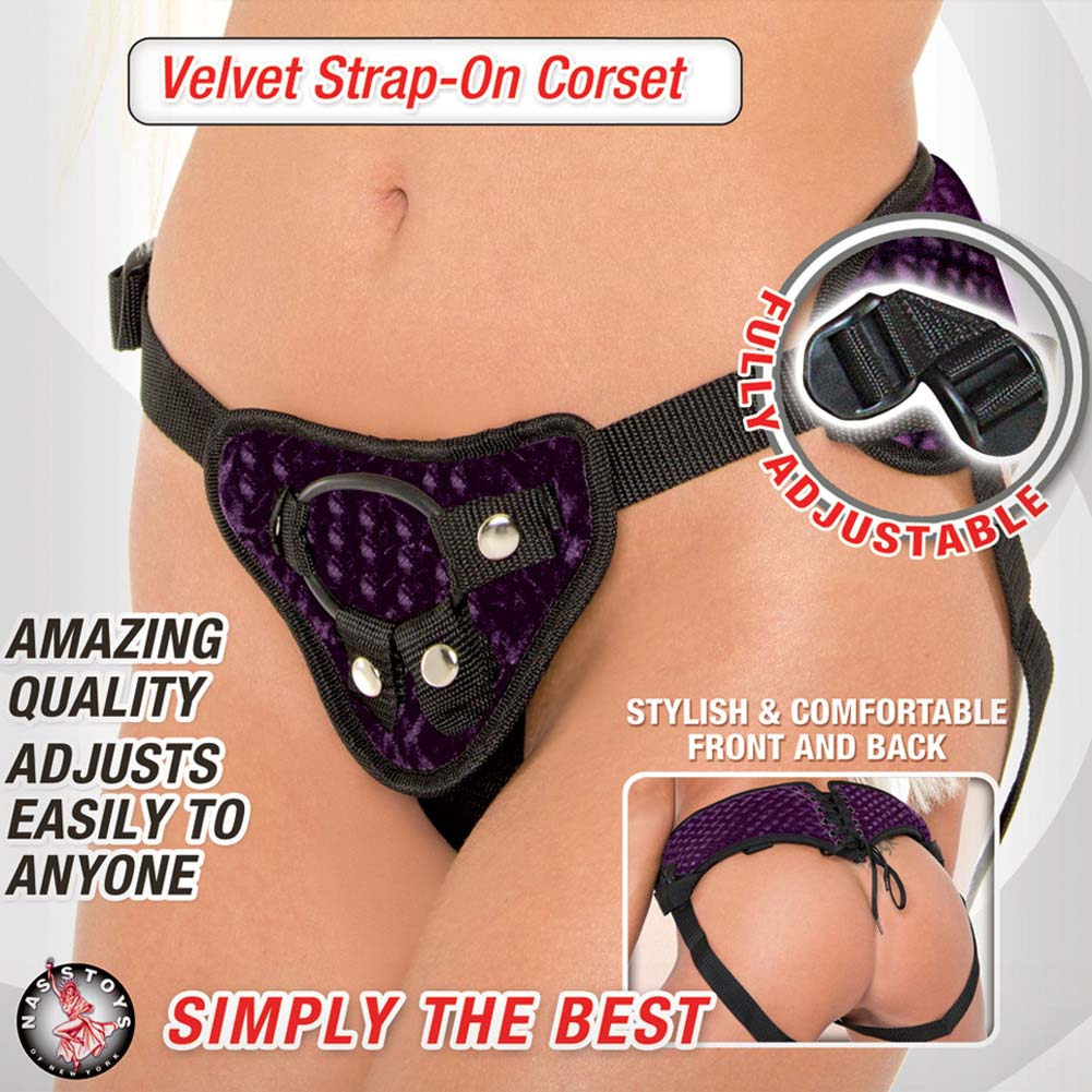 Harness the Moment Velvet Strap-On Corset Purple - View #1