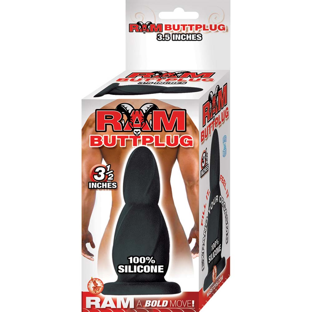"Ram Silicone Butt Plug with Suction Cup Base 3.5"" Black - View #1"