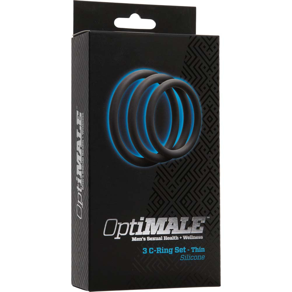 OptiMALE 3 Silicone C-Rings Set Thin Slate - View #1