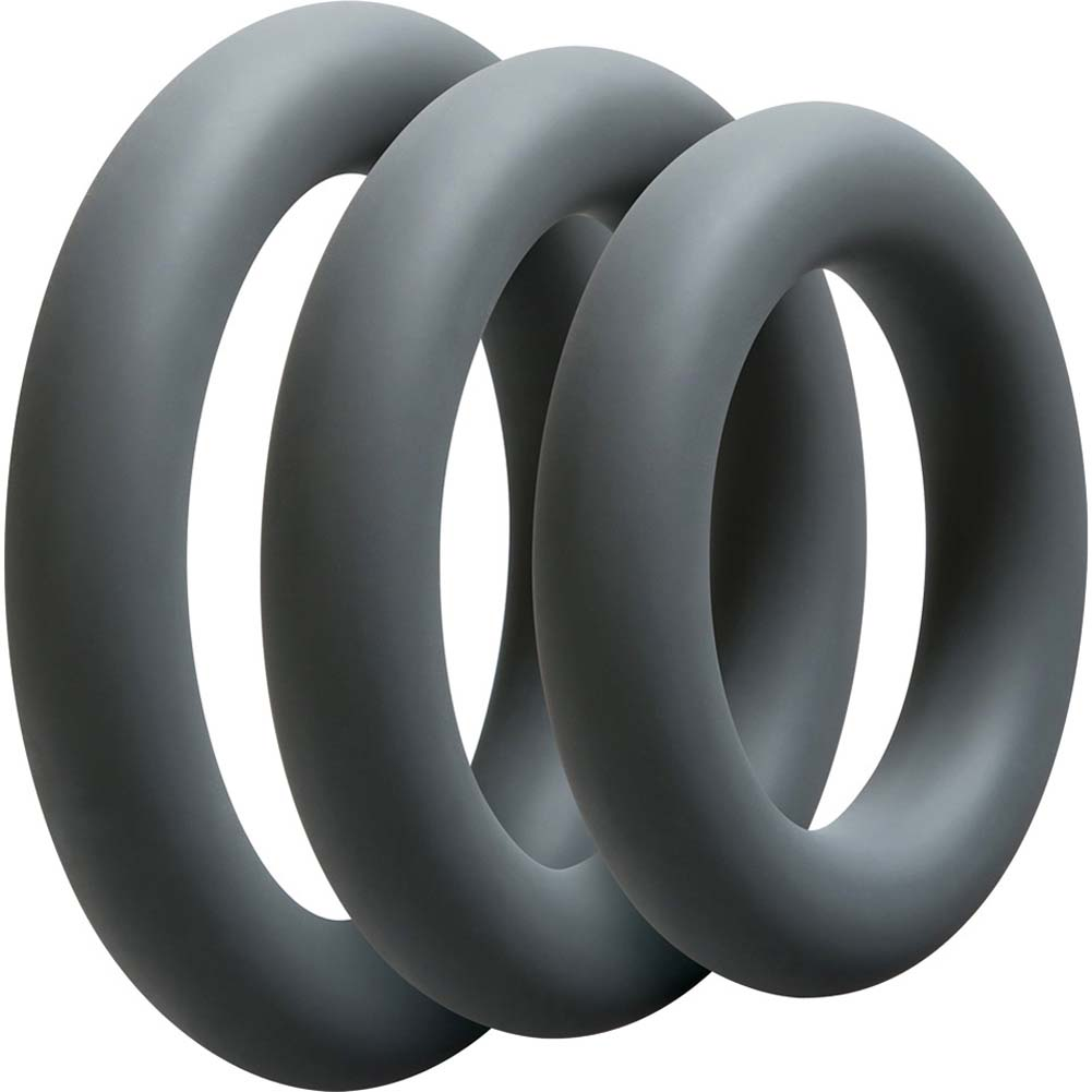 OptiMALE 3 Silicone C-Rings Set Thick Slate - View #2