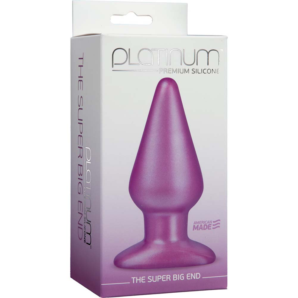 "SUPER BIG END Platinum Silicone Butt Plug 5.5"" Purple - View #1"