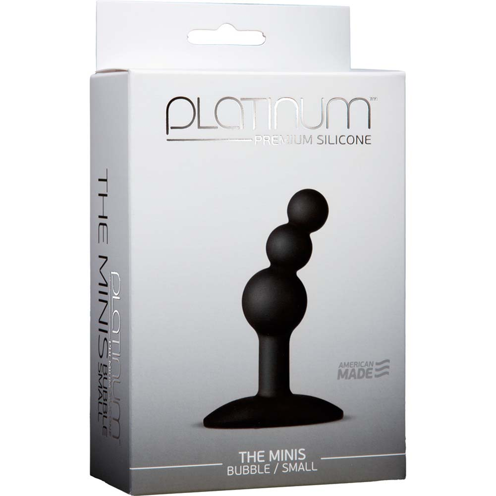 "Platinum Premium Silicone the Minis Bubble Small Butt Plug 3"" Black - View #1"