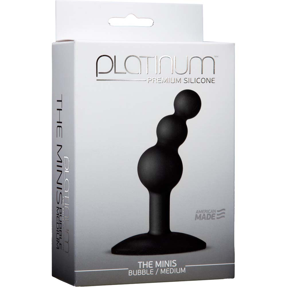 "Platinum Premium Silicone the Minis Bubble Medium Butt Plug 3.75"" Black - View #1"