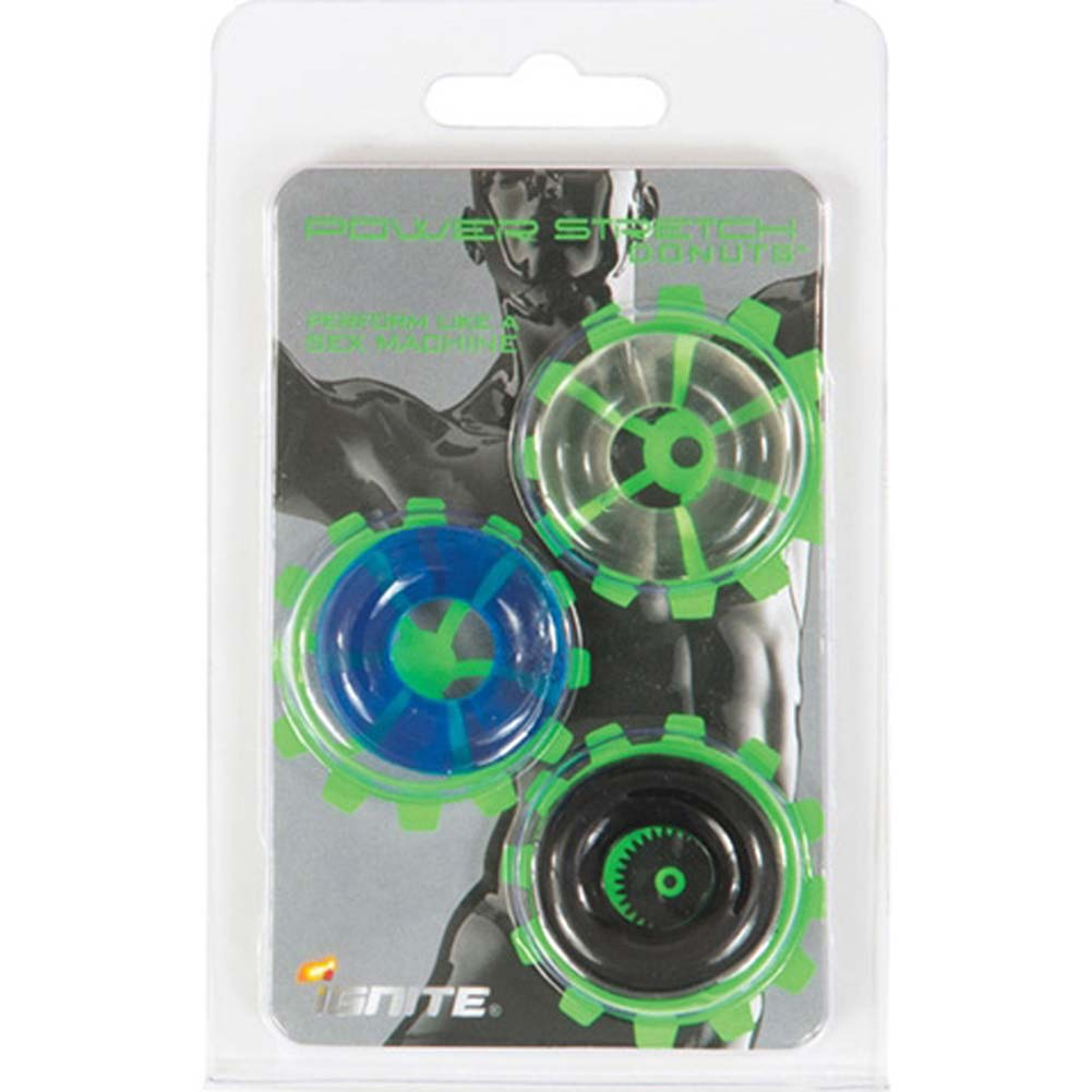 """Ignite Power Stretch Donuts Cockring 3 Pack 1"""" - View #1"""