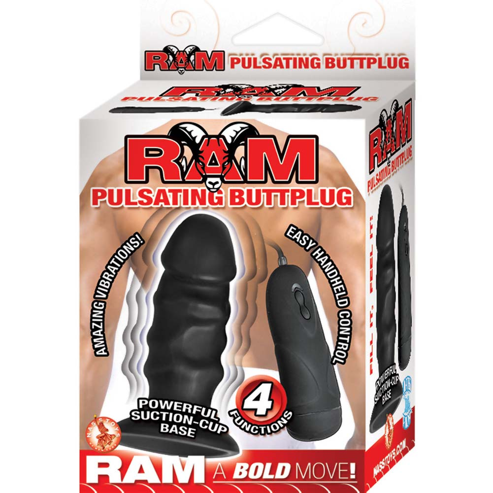 "Ram Pulsating Butt Plug with Suction Cup Base 4.75"" Black - View #1"