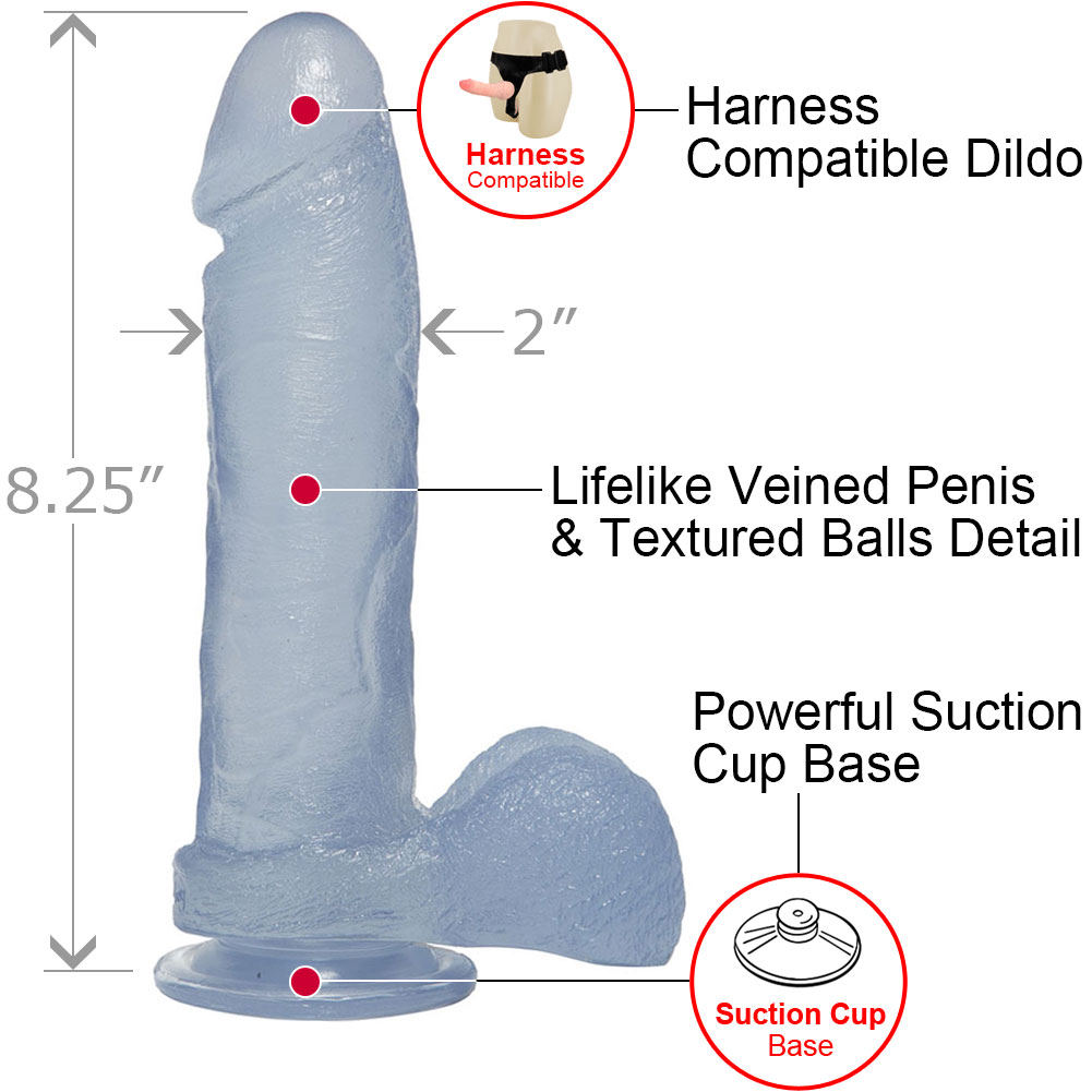 "Crystal Jellies Ballsy Cock With Suction Cup 8"" Clear - View #1"