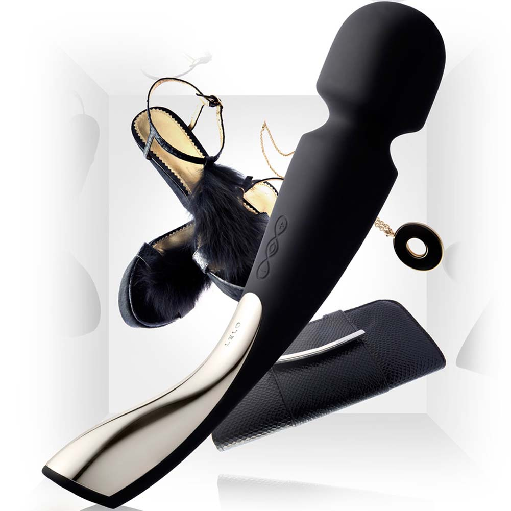 "Lelo Smart Wand Medium Rechargeable Cordless Silicone Massager 8.75"" Black - View #1"