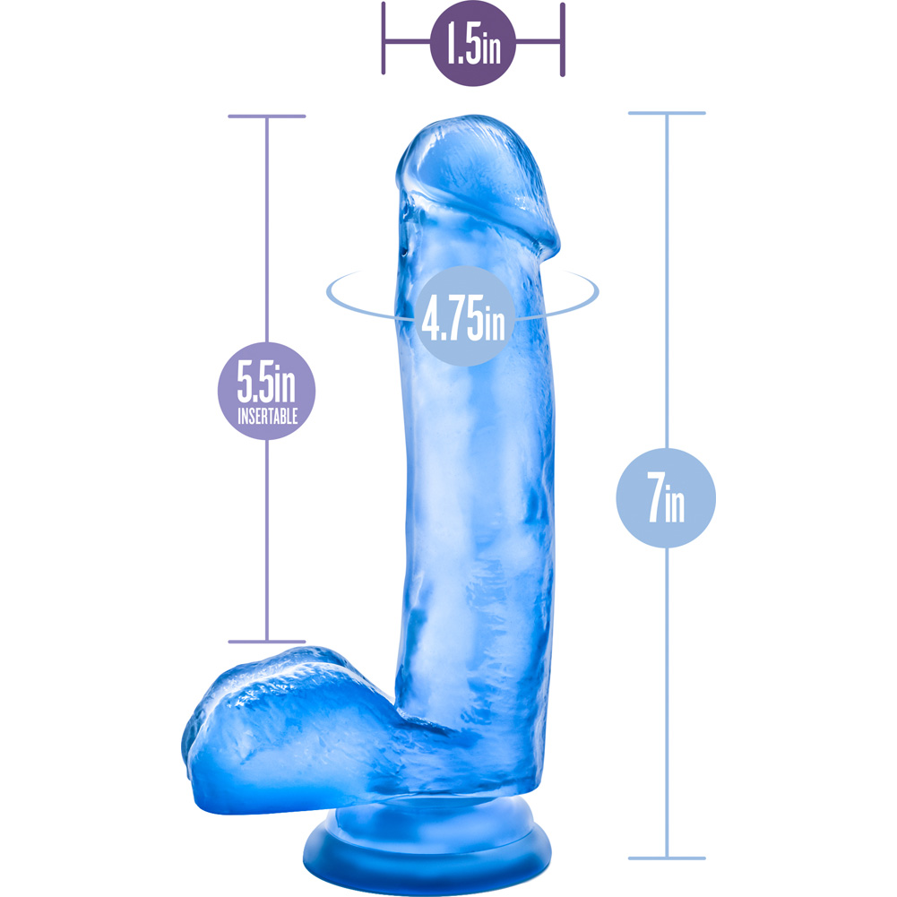 "Blush B Yours Sweet N Hard 1 Cock With Suction Cup 7"" Blue - View #1"