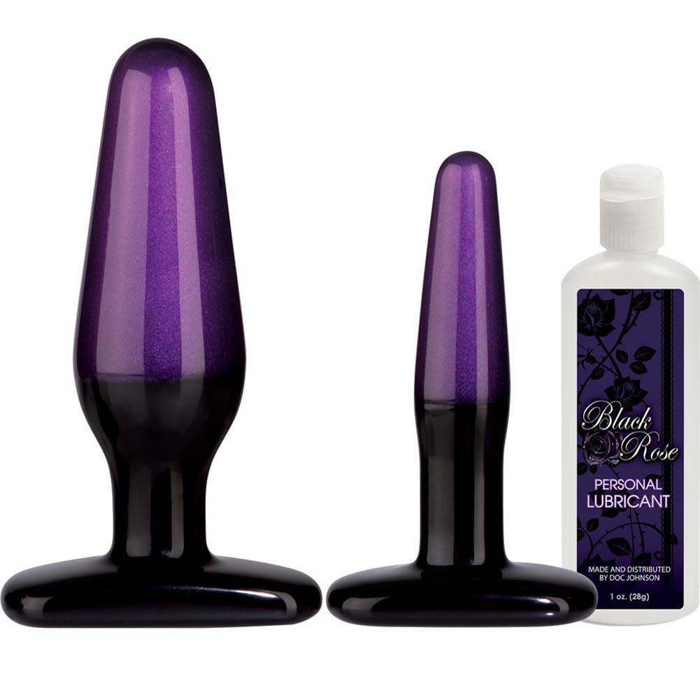 Black Rose Stems of Seduction Anal Trainer Kit With 2 Butt Plugs and Lube - View #2
