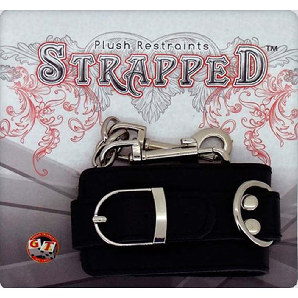 Strapped Plush Leather Cuffs Black - View #1