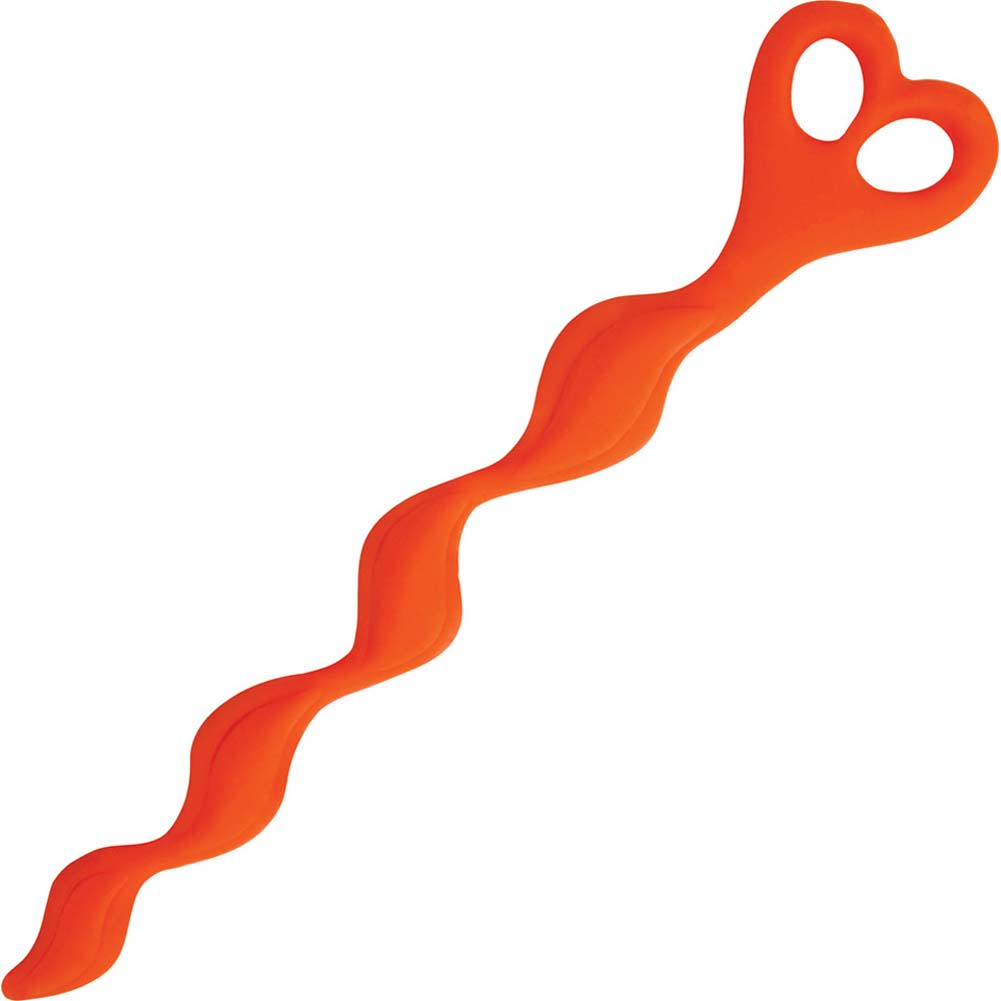 "TLC Bum Buddies Silicone Swirl Anal Beads 10.5"" Orange - View #1"