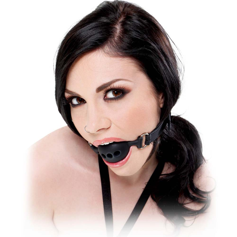 Fetish Fantasy Extreme Silicone Breathable Ball Gag Small Black - View #2