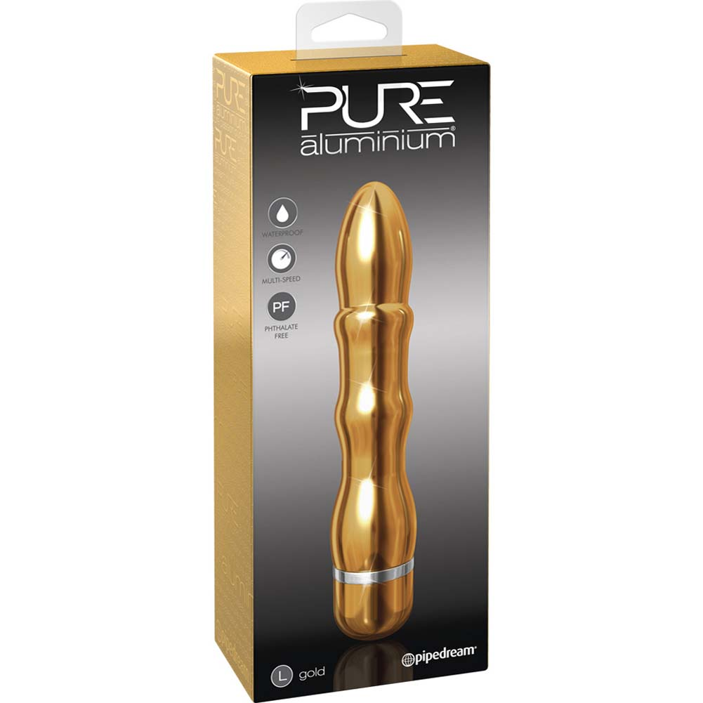 "Pure Aluminium Large Waterproof Vibe 7.25"" Gold - View #4"