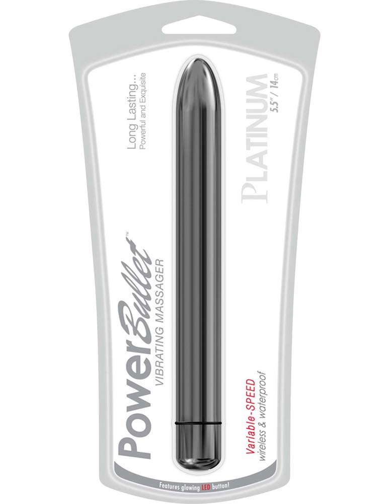 "Platinum PowerBullet Multispeed Waterproof Vibe 5"" Silver - View #1"