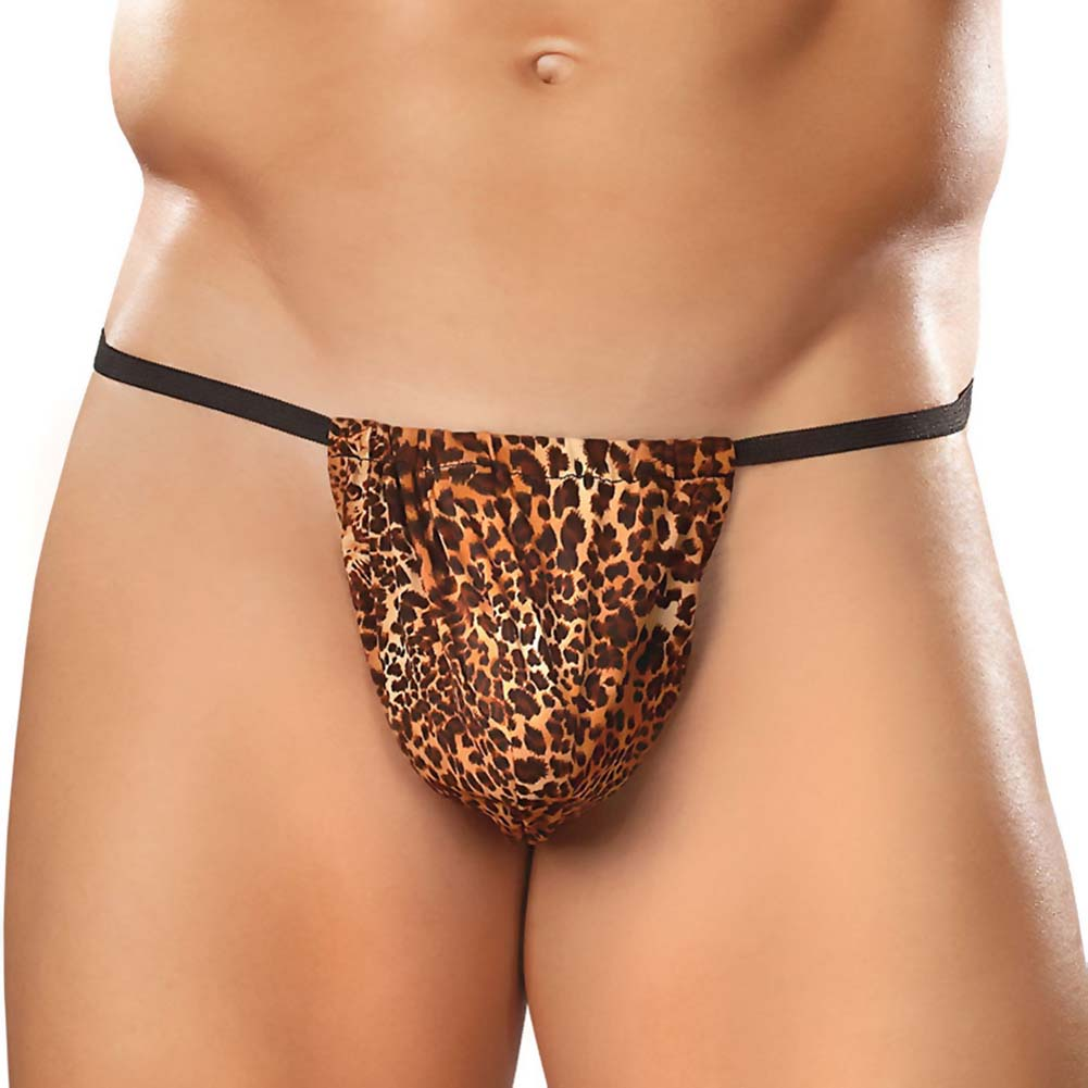 Male Power Animal Posing Strap One Size Leopard Print - View #1