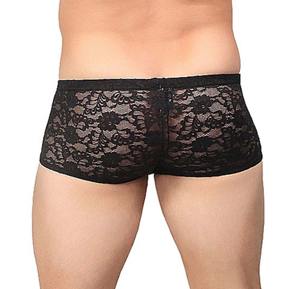 Male Power Stretch Lace Mini Short Extra Large Black - View #2
