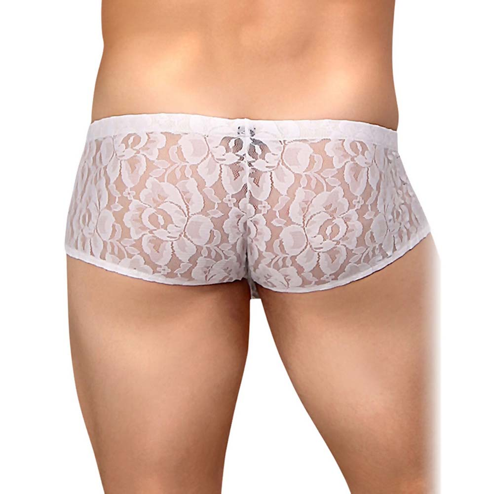 Male Power Stretch Lace Mini Short Small White - View #2