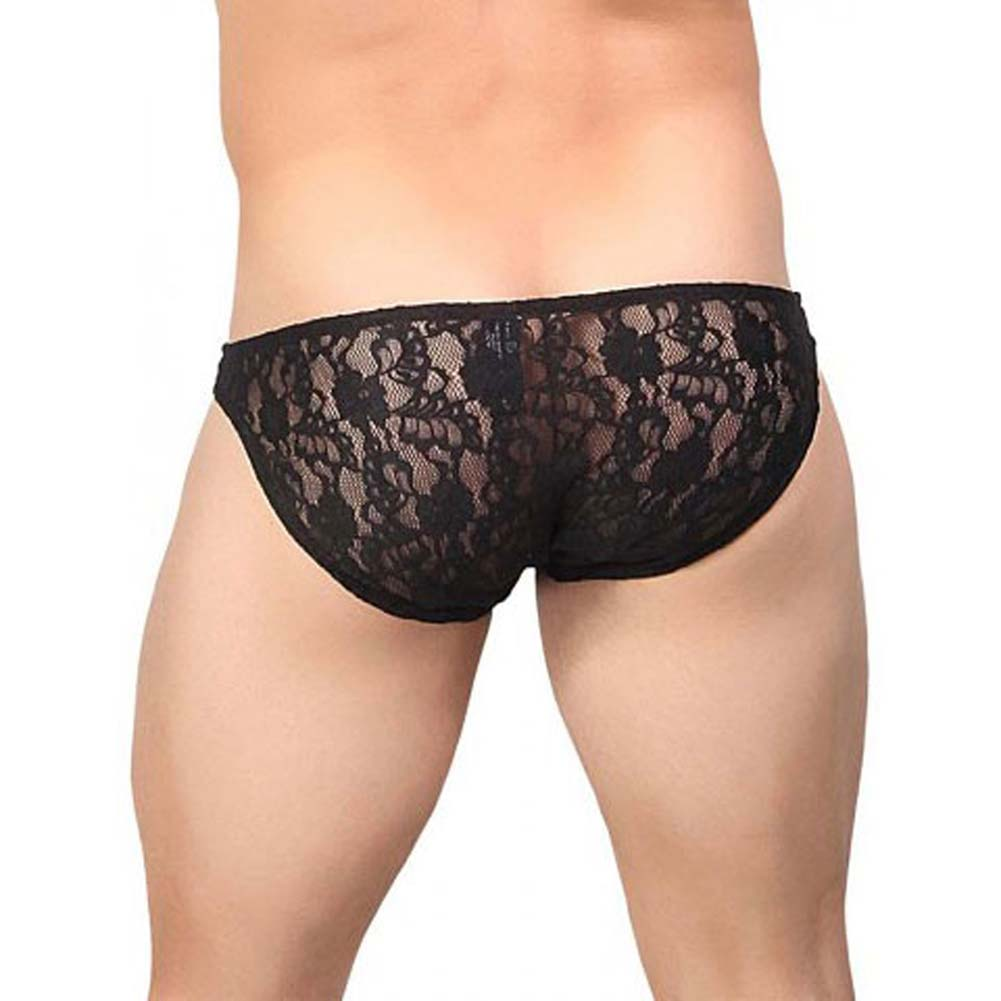 Male Power Stretch Lace Wonder Bikini Medium Black - View #2