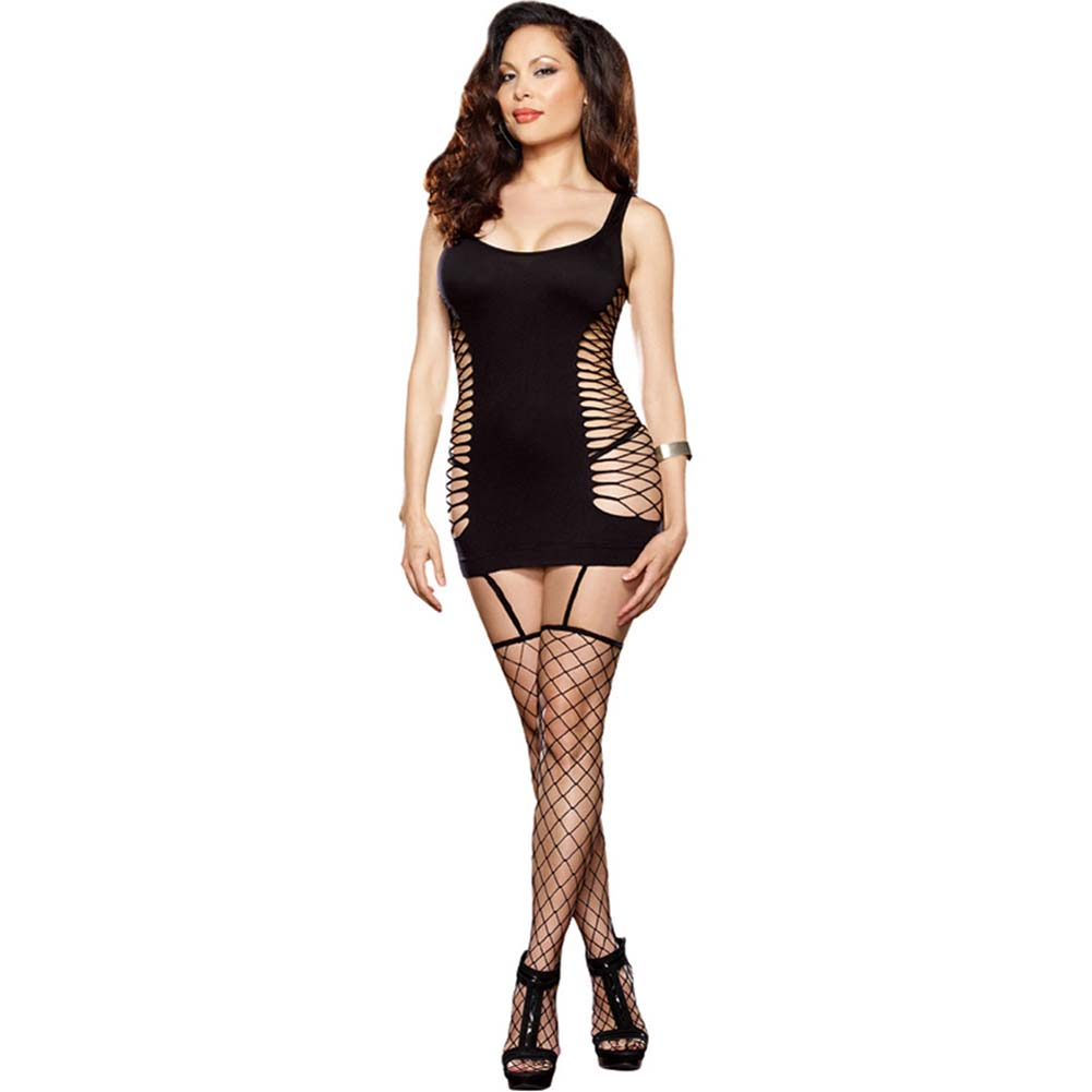 Capri Garter Dress with Fence-Net Stockings Plus Size Black - View #1
