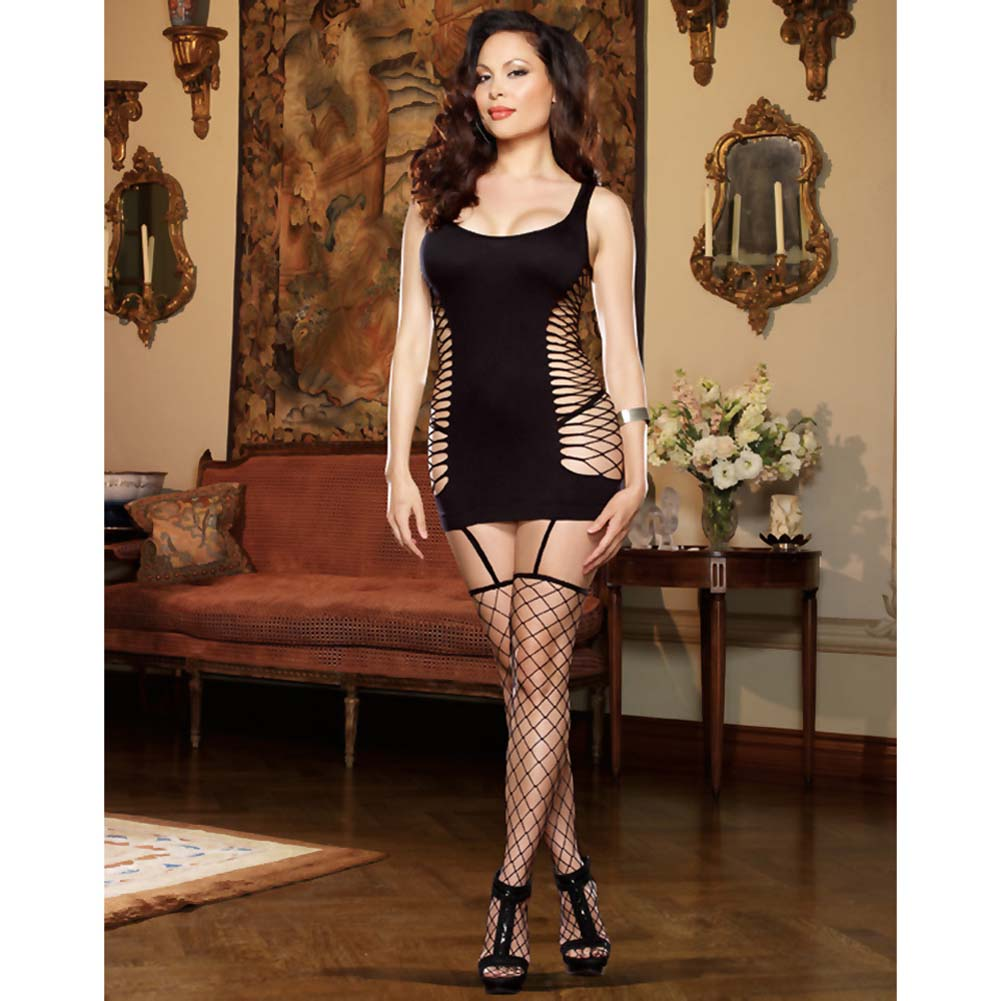 Capri Garter Dress with Fence-Net Stockings Plus Size Black - View #3
