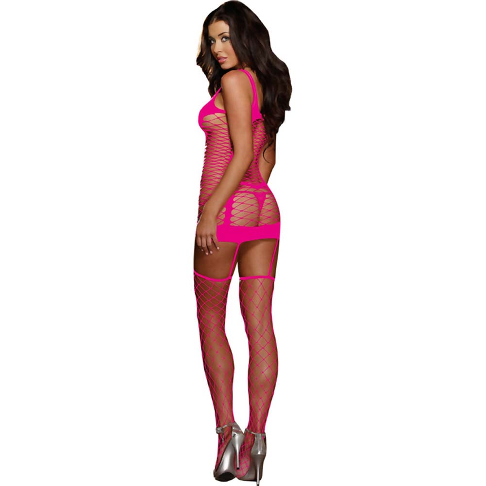 Capri Garter Dress with Fence-Net Stockings One Size Neon Pink - View #2