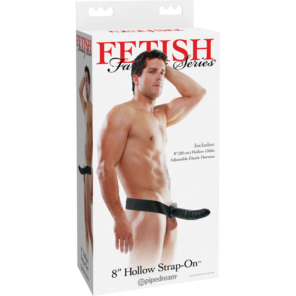 "Fetish Fantasy Hollow Strap-On 8"" Black - View #4"
