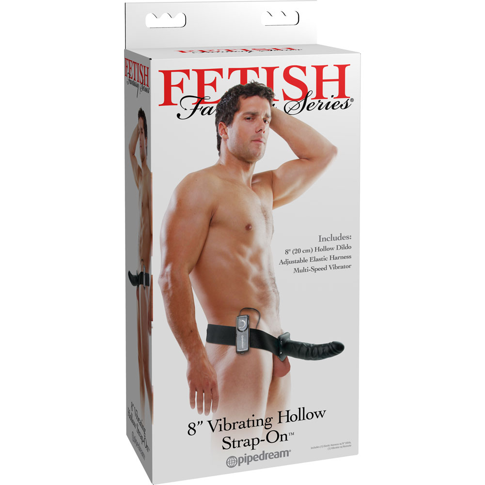 "Fetish Fantasy Series Vibrating Hollow Strap-On Dong 8"" Black - View #4"