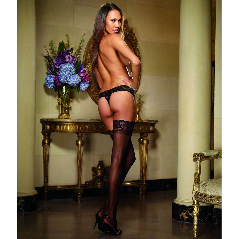 Dreamgirl Stay Up Sheer Thigh High with Lace Top One Size Black - View #4