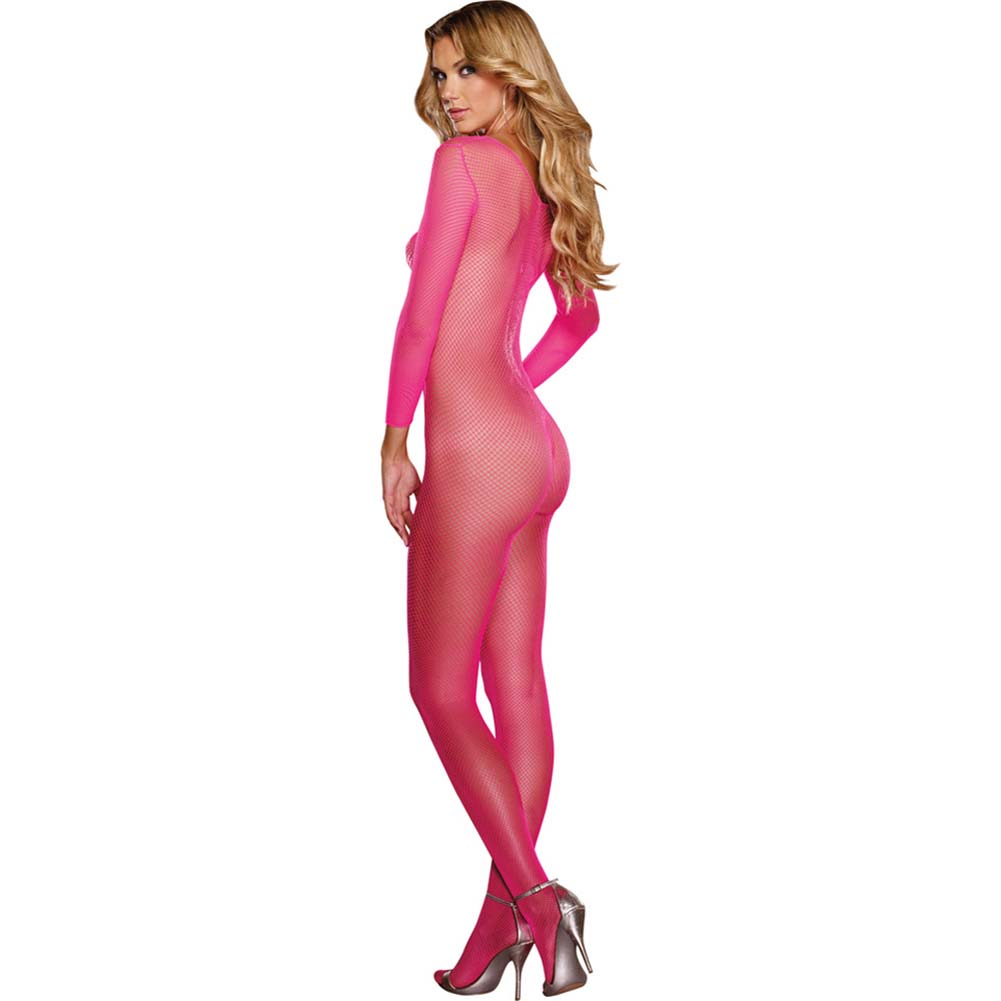 Fishnet Open Crotch Bodystocking One Size Neon Pink - View #2
