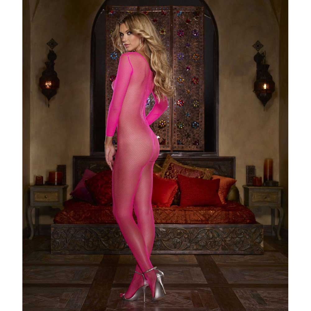 Fishnet Open Crotch Bodystocking One Size Neon Pink - View #4