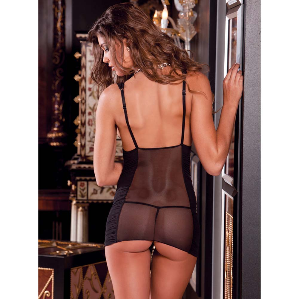 Ruched Mesh and Lace Chemise with G-String Set Small/Medium Black - View #4