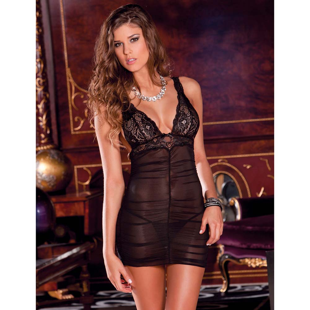 Ruched Mesh and Lace Chemise with G-String Set Medium/Large Black - View #3