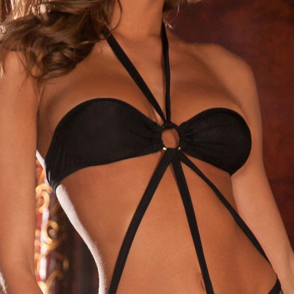 Strappy Microfiber Halter Teddy Medium/Large Black - View #3