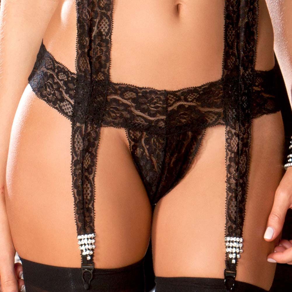 Lace Bodysuit with Jeweled Garters Small/Medium Black - View #3