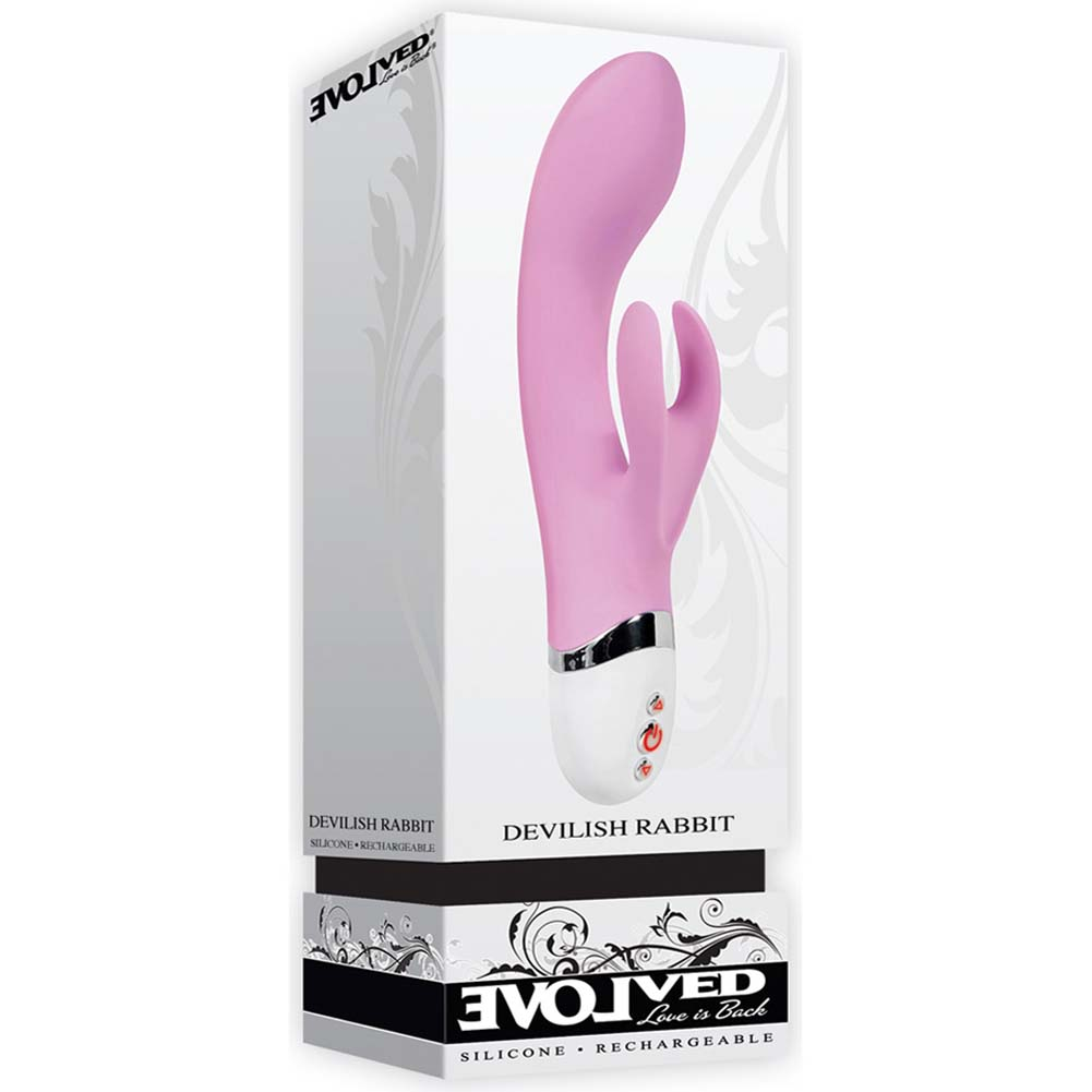 "Devilish Rabbit Rechargeable Silicone Vibe 7.75"" Pink - View #1"