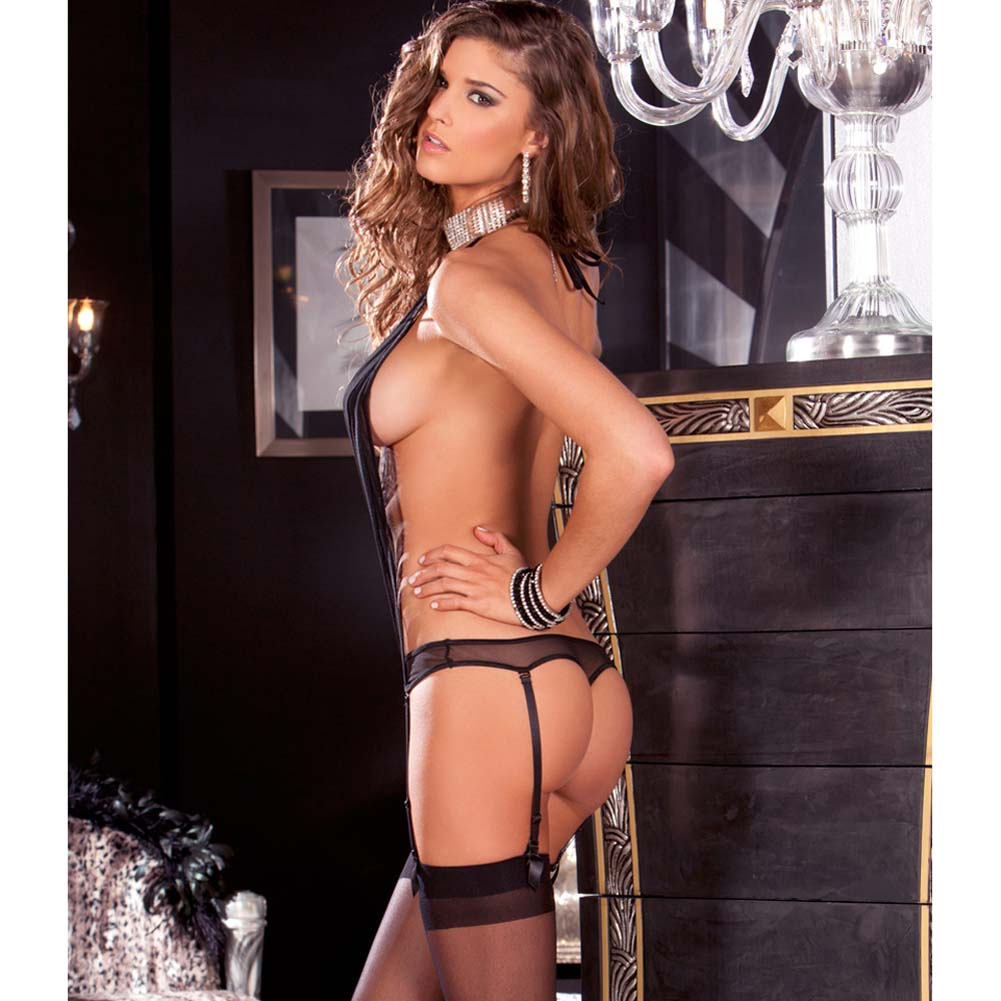 Pleated and Provocative Garter Teddy Small/Medium Black - View #2