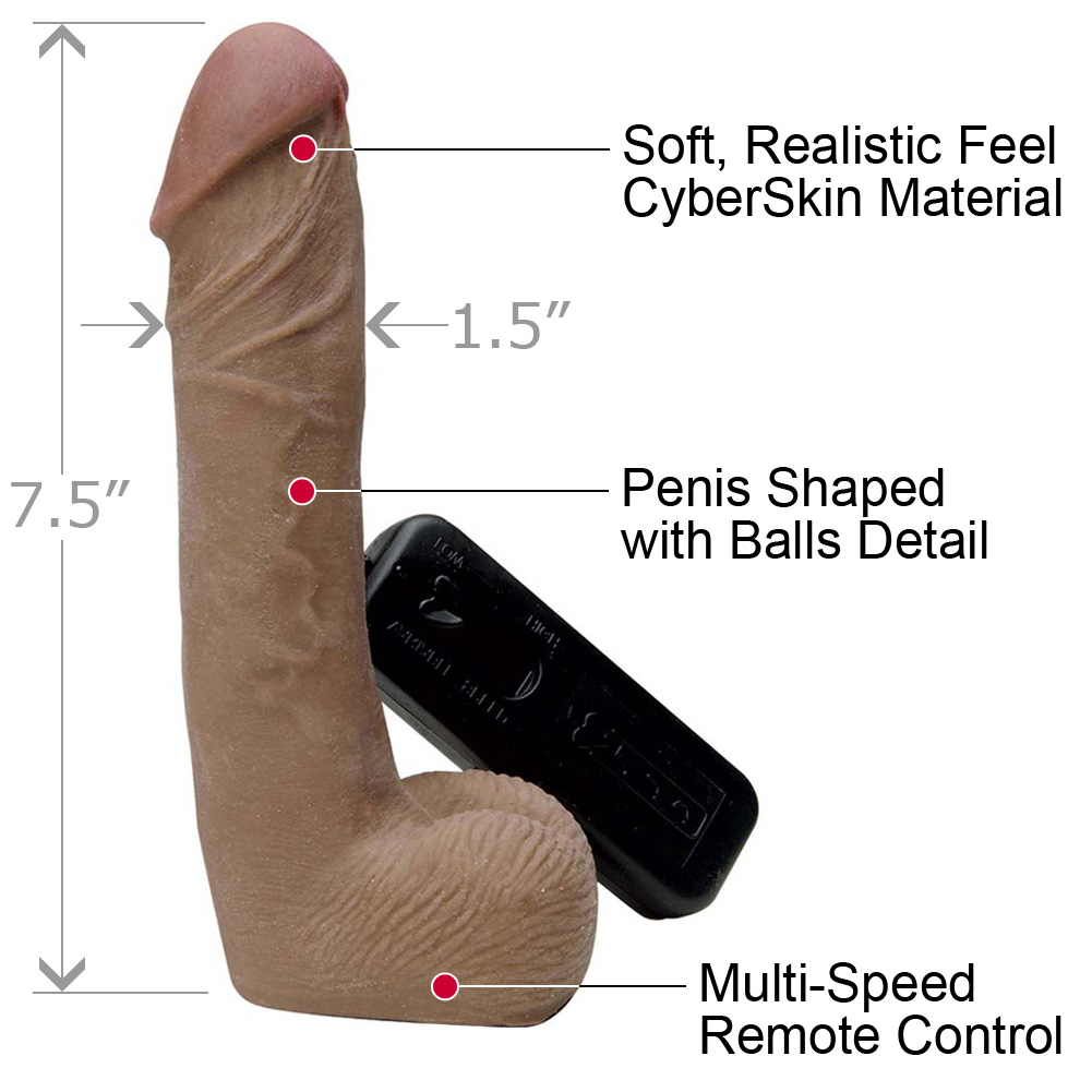 """CyberSkin Vibrating Cyber Cock with Balls 7.5"""" Cinnamon - View #1"""