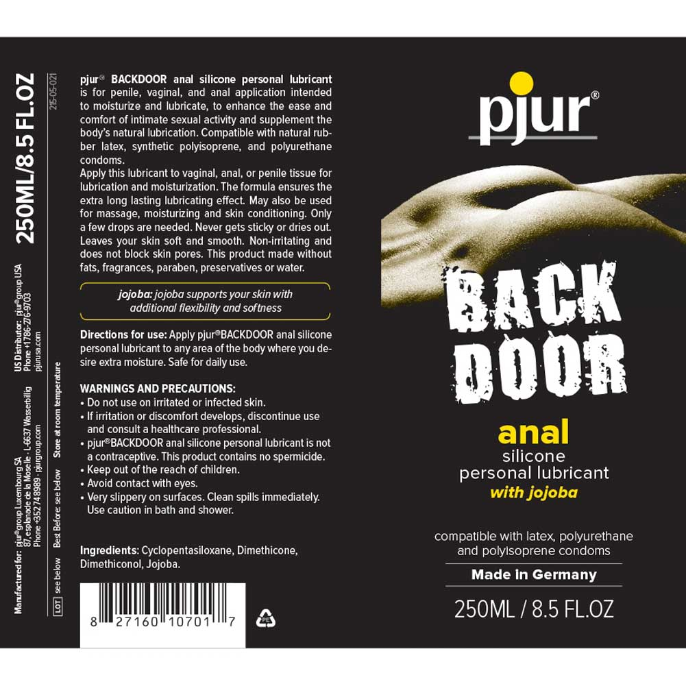 Pjur Back Door Relaxing Anal Glide Silicone Lubricant 8.5 Fl.Oz 250 mL - View #1