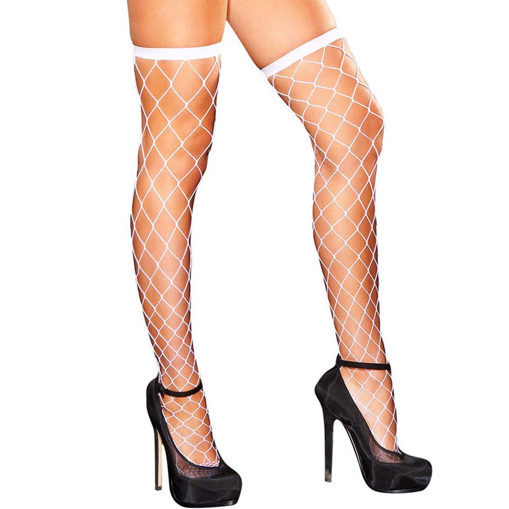 Hustler Diamond Net Thigh High White - View #1