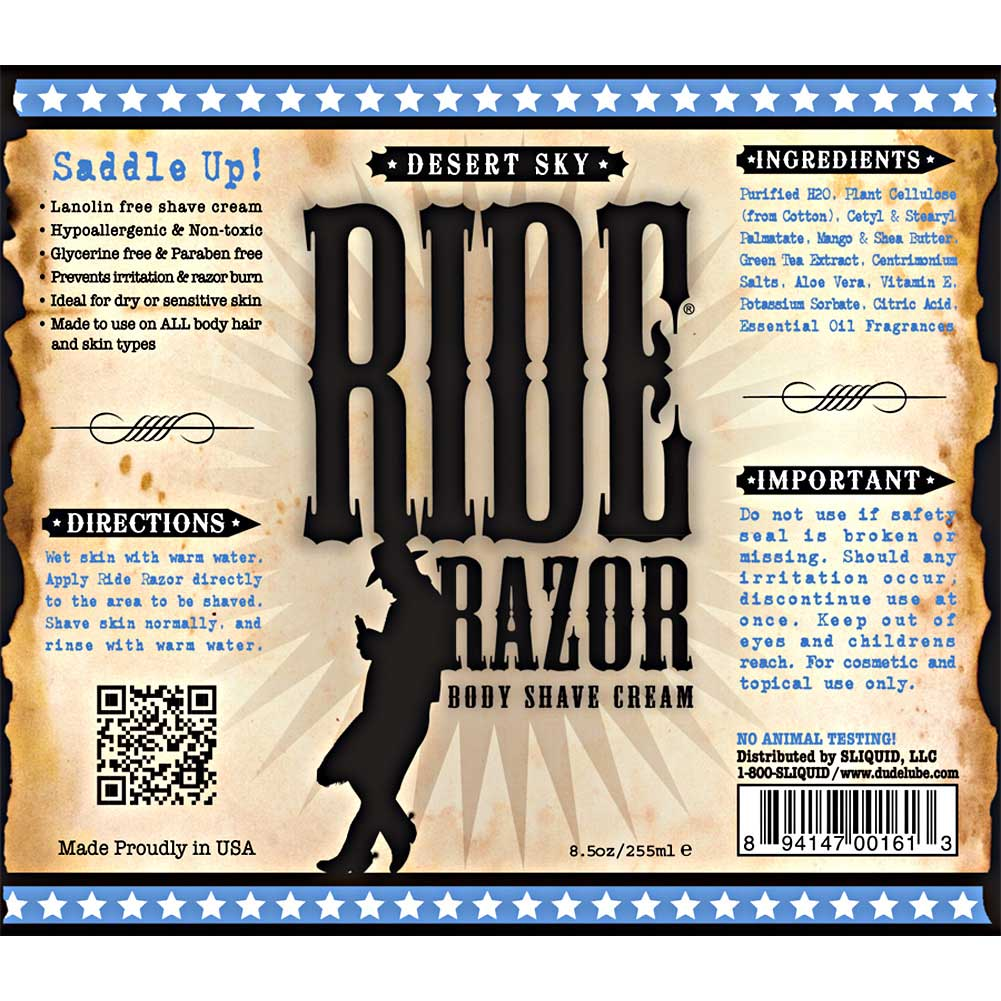 Sliquid Ride Razor Body Shave Cream 8.5 Fl.Oz 250 mL Desert Sky - View #1