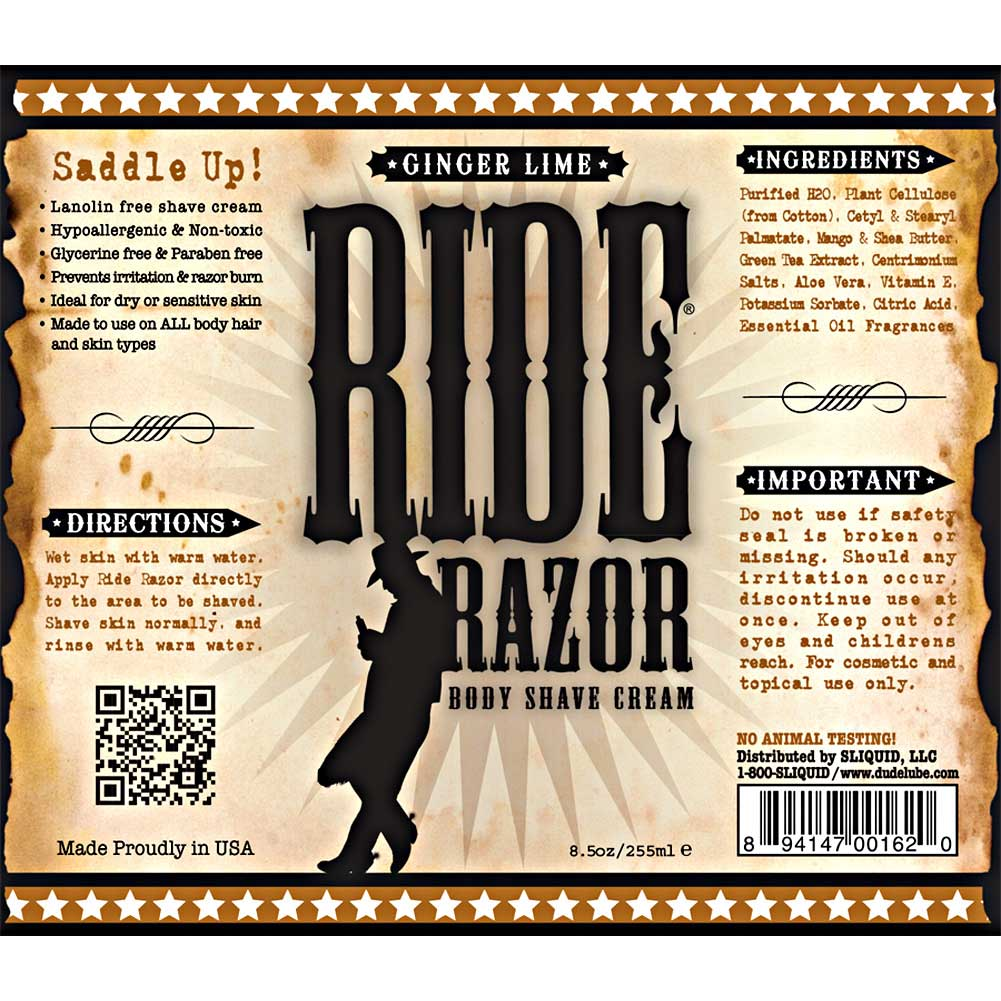 Sliquid Ride Razor Shave Cream Ginger Lime 8.5 Fl. Oz. - View #1